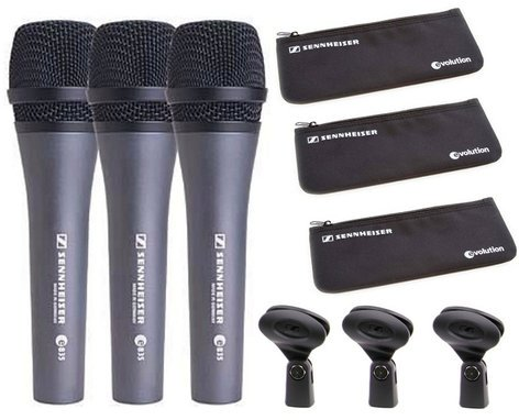 Sennheiser THREEPACK835 Pack of (3) e 835 Handheld Vocal Microphones with Carrying Pouches THREEPACK835