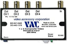 Video Accessory Corp 11-113-104  Video Distribution Amplifier, 1x4, BNC Connectors 11-113-104