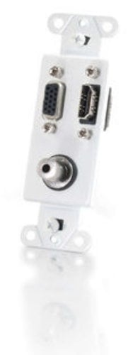 Cables To Go 41031  HDMI - VGA and 3.5mm Audio Pass Through Decora Style Wall Plate in White 41031