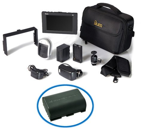 ikan Corporation D5W-DK-E6 D5w Field Monitor Deluxe Kit with Canon LP-E6 Compatible Battery D5W-DK-E6