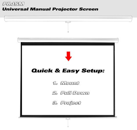 """Pyle Pro PRJSM1006 Universal 100"""" Roll-Down Pull-Down Manual Projection Screen (59.8'' x 79.9'') in Matte White PRJSM1006"""