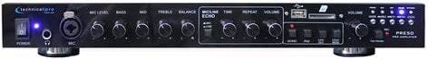 "Technical Pro PRE50  2 Channel Preamp with RCA, 1/8"", USB, and SD Card Inputs PRE50"