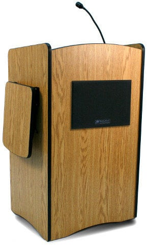 AmpliVox SW3230-LAPEL Multimedia Computer Lectern with Wireless Sound System and Lapel & Headset Microphones SW3230-LAPEL