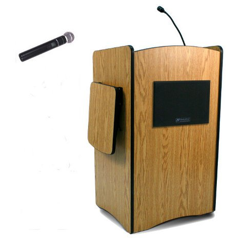 AmpliVox SW3230-HANDHELD Multimedia Computer Lectern with Wireless Sound System and Wireless Handheld Transmitter SW3230-HANDHELD