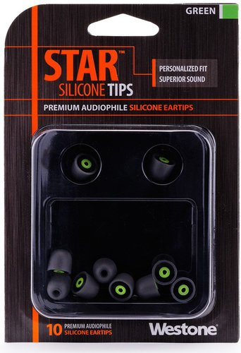 Westone 62809  10 Pack of Green STAR Silicone Eartips 62809