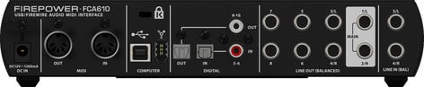 Behringer FCA610 USB/Firewire Audio and MIDI Interface with 6 inputs and 10 ouputs, 24-bit 96 kHz FCA610