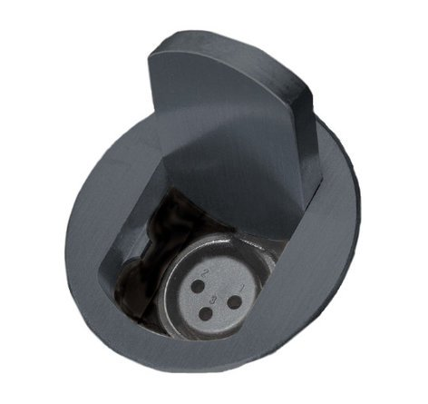 FSR, Inc T3-MJ+1B-BLK Table Top Microphone Jack Insert with Tilt Up Black Cover and 1 Button and 1 LED T3-MJ-1B-BLK