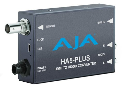 AJA Video Systems Inc HA5-Plus HDMI to SD/HD/3G-SDI Mini Converter with DSLR Format Support and Power Supply HA5-PLUS
