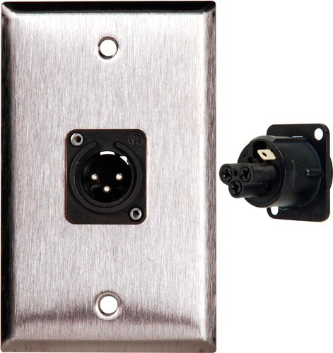TecNec WPL-1113-TB Single Gang Stainless Steel Wallplate with Neutrik 3-Pin XLR Male Connector WPL1113-TB
