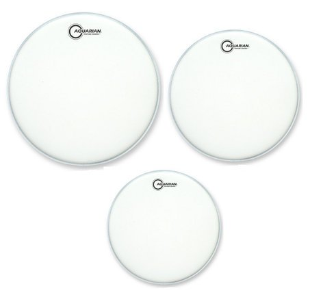 "Aquarian Drumheads TC-B 3-Pack of Texture Coated Tom-Tom Drumheads in White: 12"",13"",16"" TCB"