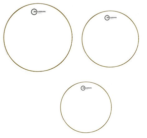 """Aquarian Drumheads S2-A 3-Pack of Super-2 Tom Tom Drumheads in Clear: 10"""",12"""",14"""" S2A-AQUARIAN"""