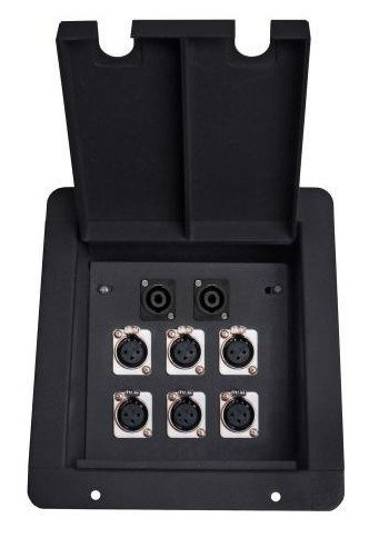Elite Core Audio FB6-SP Recessed Floor Box with 6 XLR Female and 2 Speakon Connectors, Black FB6-SP