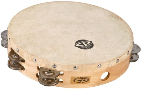 """Latin Percussion CP380 10"""" CP Wood Tambourine with Double Row of Jingles and Calfskin Head CP380"""