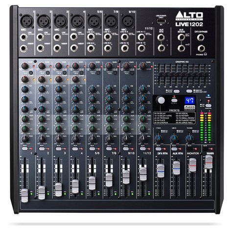 Alto Professional Live 1202 12-Channel 2-Bus Mixer with USB Interface and Built-In DSP Effects LIVE-1202
