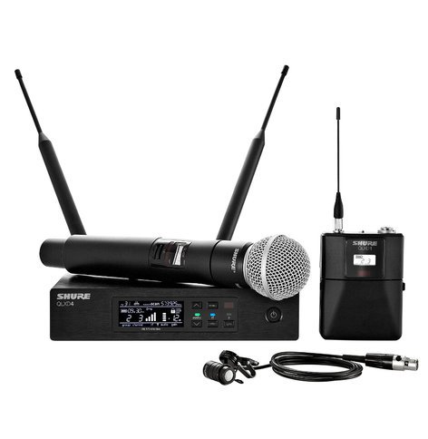 Shure QLXD124/85 Digital Wireless Combo Bodypack Lavalier and Handheld Microphone System QLXD124/85