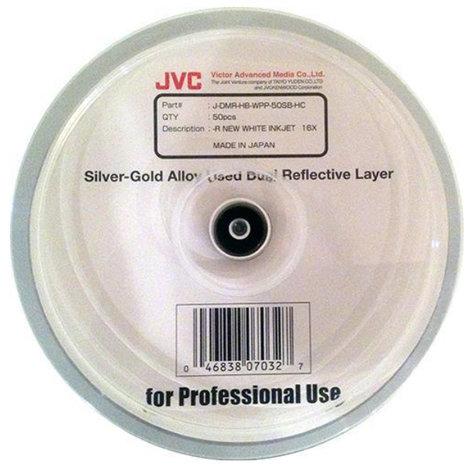 JVC JDMR-HB-WPP-50SB-HC 50-Pack Archival 16X DVD-R Dual Silver Alloy/Gold-Siver Alloy White Inkjet Printable Media [Priced Per Disk] JDMR-HB-WPP-50SB-HC