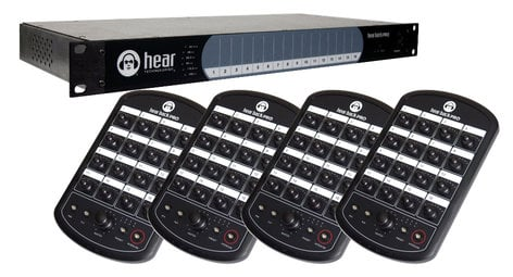 Hear Technologies Hear Back PRO Four Pack, Analog Input Network-Based 16-Channel Personal Monitor Mixer System Package PROHB4