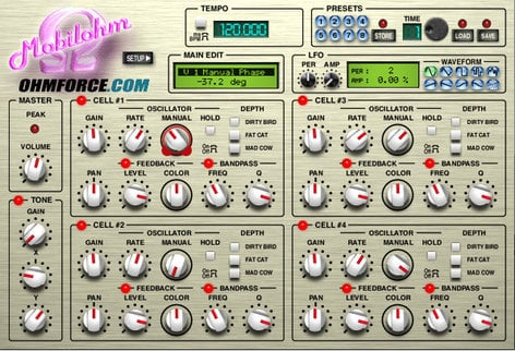 OHM Force Mobilohm 4-Band Phaser Software Plugin MOBILEOHM