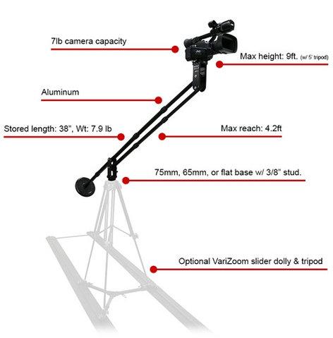 Varizoom Solo Jib-AL Aluminum Jib Holds Cams up to 7 Pounds SOLOJIB-AL