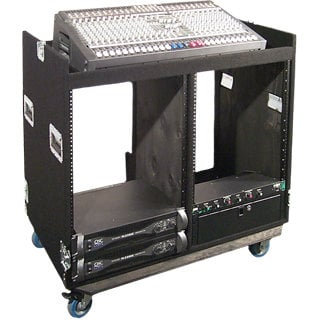 """Grundorf Corp COMBO-D16CB  Mixer/Rack Combo Case with Dual 16RU Racks and 4"""" Casters in Black Carpet Finish COMBO-D16CB"""