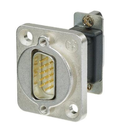 Neutrik NADB15MF 15-Pin D-SUB Male to Female Feedthrough with Nickel Housing NADB15MF