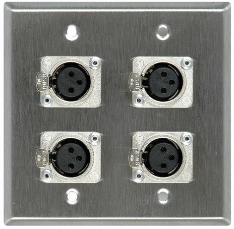 TecNec WPL-2111  2-Gang Wall Plate with 4x NC3FD-L-1 3-Pin XLR-F Jacks WPL-2111