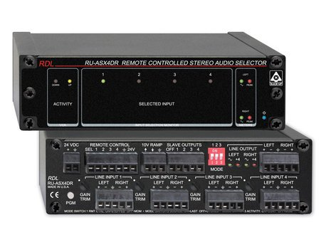 Radio Design Labs RU-ASX4DR  4 In x 1 Out Remote Controlled Stereo Audio Selector with VCA RU-ASX4DR