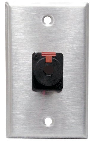 "RapcoHorizon Music SBA-1NJ3FP6C  Black Anodized Single-Gang Wall Plate with Neutrik 1/4"" Female Connector SBA-1NJ3FP6C"