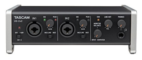 Tascam US2X2 US-2x2 2 In/2  Out USB 2.0 Audio/MIDI Interface with HDDA Microphone Preamplifiers and iOS Compatibility US2X2