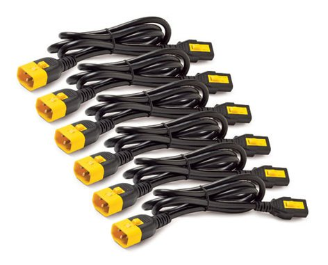 American Power Conversion AP8706S-NA Power Cord Kit with 6 Locking IEC C13 to C14 Cables, 6 ft Length AP8706S-NA