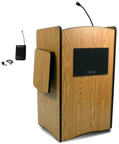 AmpliVox SW3235 Wireless Multimedia Presentation Podium with Lapel Microphone Transmitter SW3235-LAPEL