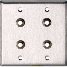 """TecNec WPL-2104  2-Gang Wall Plate with (4) 1/4"""" Stereo Jacks WPL-2104"""