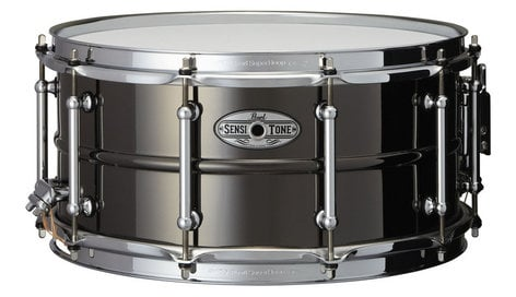 "Pearl Drums STA1465BR 6.5""x14"" SensiTone Beaded Brass Snare Drum in Black STA1465BR"