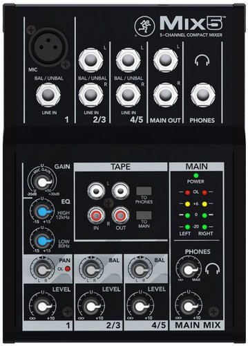 Mackie Mix5 5 Channel Compact Mixer MIX5