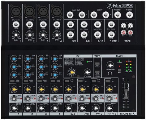 mackie mix12fx 12 channel compact mixer with effects full compass systems. Black Bedroom Furniture Sets. Home Design Ideas