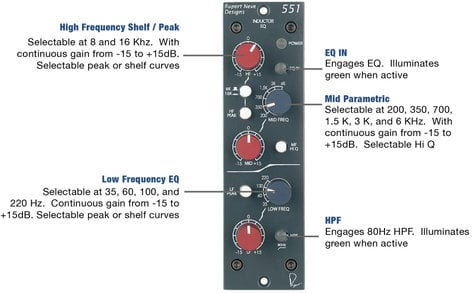 Rupert Neve Designs 551 Inductor EQ 500 Series Equalizer 551-INDUCTOR-EQ