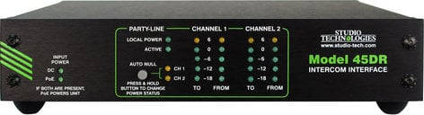 Studio Technologies Model 45DR Dante to 2 Channel Party Line Intercom Interface MODEL-45DR