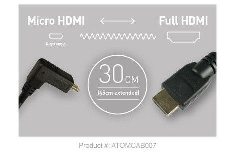Atomos ATOMCAB007 Right Angle Micro HDMI to Full HDMI 30cm Cable ATO-MCAB007