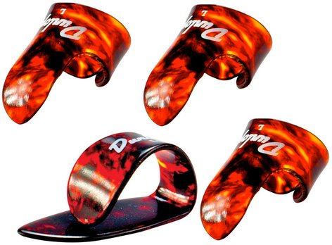Dunlop 9010TP  Player's Pack of Shell Plastic Medium Gauge Fingerpicks - 3 Fingerpicks, 1 Thumbpick 9010TP