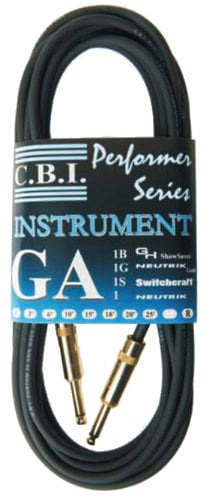 "Caldwell Bennett Inc GA1-10 10' 20 AWG Instrument Wire with 1/4"" Neutrik Nickel Connectors GA1-10"