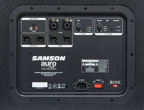 """Samson AURO-D1500 Auro D1500 1000W 15"""" Active Subwoofer AURO-D1500"""