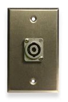 Whirlwind WP1B/1NL4  Single Gang Black Aluminum Wall Plate with (1) NL4  Connector WP1B/1NL4