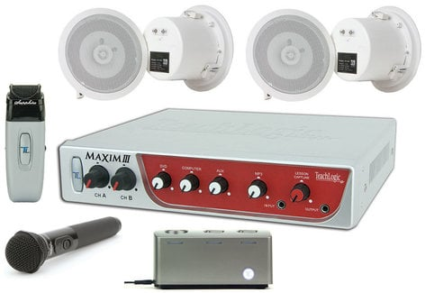 TeachLogic IRM-5650/CS4  Classroom Sound Field System with Maxim III Amplifier, 4x SP-628 Ceiling Speakers, 2x Transmitters IRM-5650/CS4