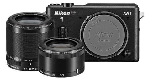 Nikon 27667 14.2 MP 1 AW1 Camera in Black with NIKKOR AW 11-27.5mm f/3.5-5.6 Zoom and AW 10mm f/2.8 Lenses 27667