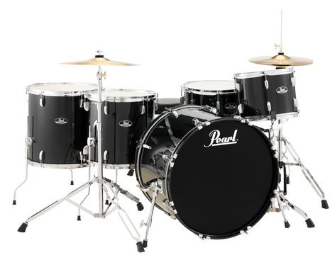 Pearl Drums RS525WFC/C 5-Piece Roadshow Series Drum Set in Jet Black with Cymbals and Hardware RS525WFC/C31