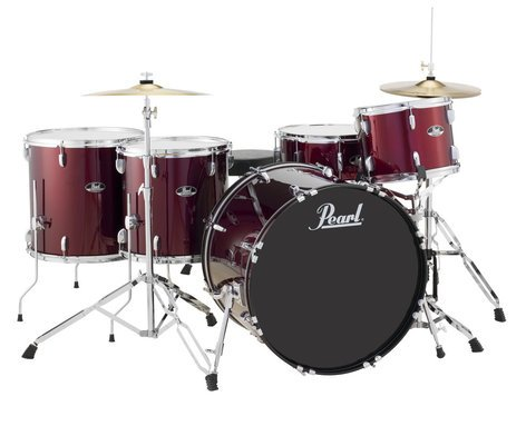 Pearl Drums RS525WFC/C91 5-Piece Roadshow Series Drum Set in Wine Red with Cymbals and Hardware RS525WFC/C91