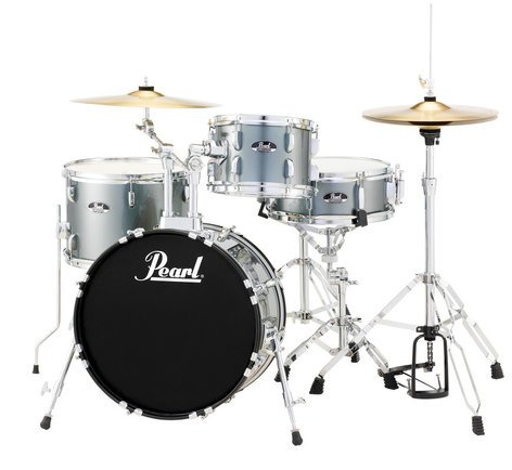 Pearl Drums RS584C/C706 4-Piece Drum Set in Charcoal Metallic with Cymbals and Hardware RS584C/C706
