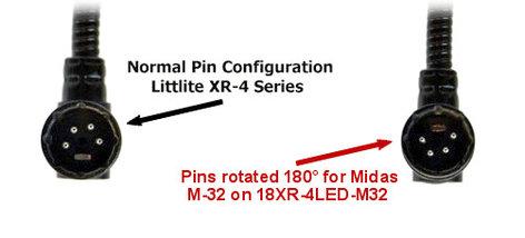 Littlite 18XR-4LED-M32  18in Gooseneck LED 4-Pin XLR Configured for M32 Audio Console 18XR-4LED-M32