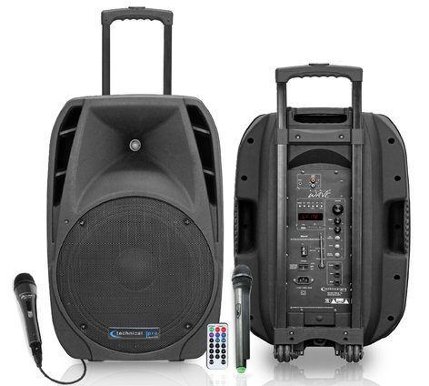"Technical Pro WAVE12 12"" Portable All-In-One PA System with Two Microphones, Remote Control and Bluetooth Connectivity WAVE12"