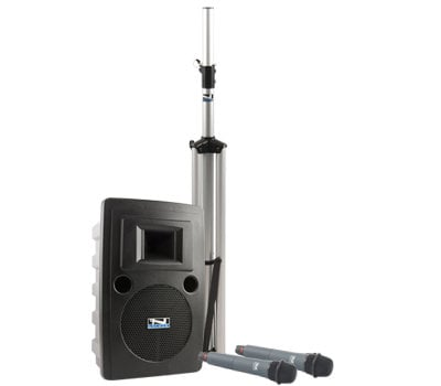 Anchor LIB-BPDUALAC-EMTA4F Portable AC Powered PA System with (2) UHF Wireless Receivers, Bodypack Transmitter, UltraLite Microphone and Choice of 2nd Transmitter/Mic LIB-BPDUALAC-EMTA4F